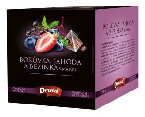 Borůvka, jahoda a bezinka s mátou - ovocný čaj DRUID 36 g