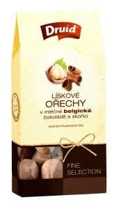 Lískové oříšky v mléčné belgické čokoládě a skořicí (krabička) DRUID 80 g