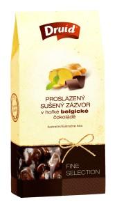 Proslazený sušený zázvor v hořké belgické čokoládě (krabička) DRUID 100 g